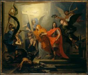 Allégorie sur le thème de la paix d'Utrecht en 1713 Huile sur toile d'Antoine Rivalz (ca1714) Source : MMA