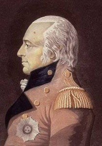 His Excellency Sir James Henry Craig, Captain-General and Governor in Chief Lower Canada, Upper Canada. Aquatinte et eau-forte colorées à la main de Gerrit Schipper (ca1810-1811) Source : BAC