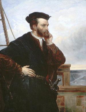 Portrait imaginaire de Jacques Cartier Huile sur toile. Copie faite vers 1844 par Théophile Hamel d'une peinture de François Riss (1839) Source : BAC