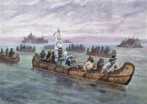 Frontenac en route pour Cataraqui Aquarelle de John Henry de Rinzy Source : BAC