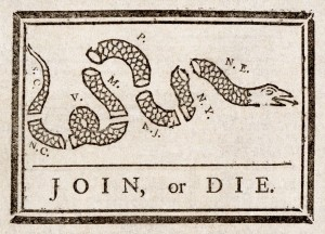 Join or Die Caricature publiée par Benjamin Franklin (1754) Source : Philadepphie press
