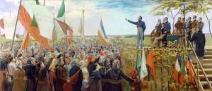 Manifestation des Canadiens contre le gouvernement anglais, à Saint-Charles, en 1837 Huile sur toile de Charles Alexander Smith (1890) Source : MNBAQ