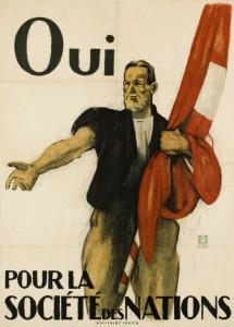 Affiche en faveur de l'adhésion de la Suisse à la SDN Lithographie d'Emil Cardinaux imprimé par Wolfsburg à Zurich (1920)
