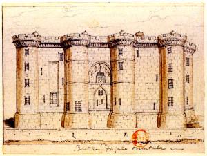 Bastille. Façade orientale Reproduction d'un dessin anonyme daté de ca1790-1791 et conservé à la Bibliothèque nationale de France (s.d.) Source : Wikimedia commons